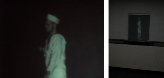 composite: (left) detail shot of grainy projection of sailor, (right) image of sailor rear-projected into the doctor's office window of a waiting room