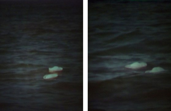 composite: two images of a grainy projection of two sailor hats floating in water